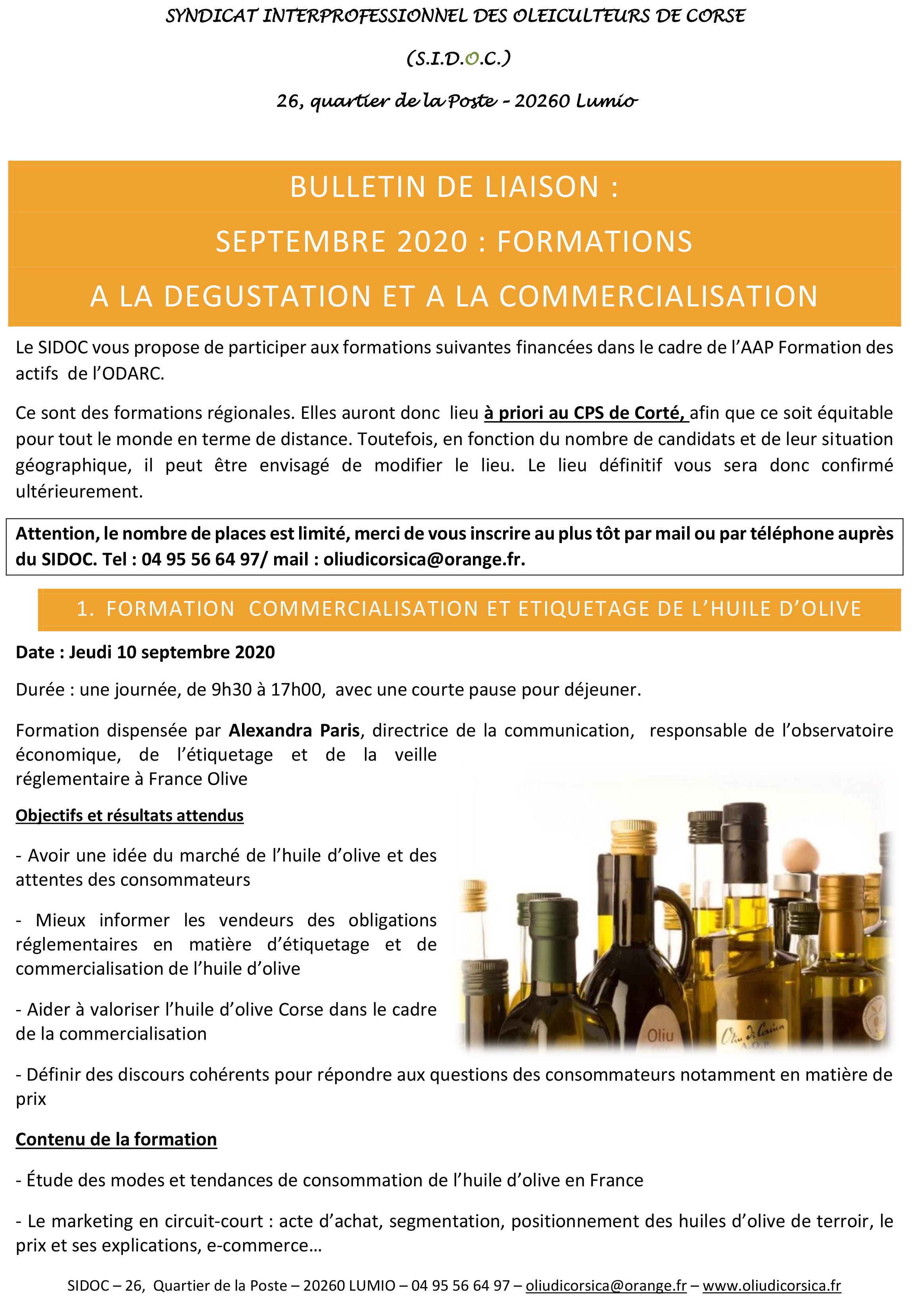 Formation à la dégustation et commercialisation de l'huile d'olive